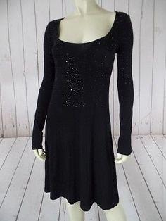 KAREN KANE Dress S Black Rayon Spandex Thin Knit Pullover Black Sequins SEXY!