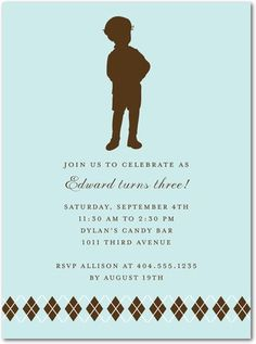 Browsing invites for birthday #2 - this would be cute if we were going for classic