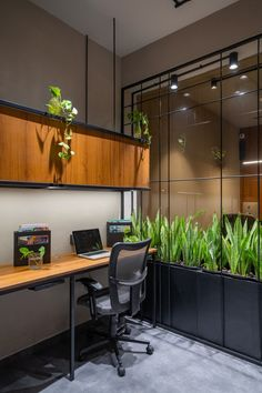 Office Design keeping The Material Palette Natural & Simple Office Ceiling Design, Office Cabin Design, Small Office Design, Corporate Office Design, Office Interior Design, Home Office Decor, Office Interiors, Corporate Interiors, Office Ideas
