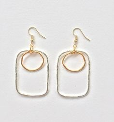 Geometrial earrings with gold plated circle and silver rectangle, boho chic earrings, statement earrings, FREE SHIPPING Statement Earrings, Drop Earrings, Boho Sandals, Jewel Box, Boho Chic, Best Gifts, Jewels, Free Shipping, Stylish