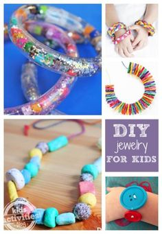 10 DIY Jewelry Projects for Kids.  Use buttons, mini clothespins, pasta, seeds, recycled magazines, and more!
