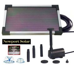 "2-Watt Solar Water Pump with 10"" Solar Panel . $44.00. 2-Watt Solar Water Pump with 10"" Solar Panel Looking for efficient, solar powered water pumps for your outdoor space? This solar water pump creates an attractive water fountain in any pond or pool with no electric power needed! Features: - Approx. Panel Size: 5.5"" L x 9.5"" W x .25"" H - Approx. Pump Size: 6.2cm L x 4cm W x 4cm H - Aluminum Bracket - Pumps Water 16"" High, 180L/hr (47.5gal/hr) - 6V DC Operation - 4f..."