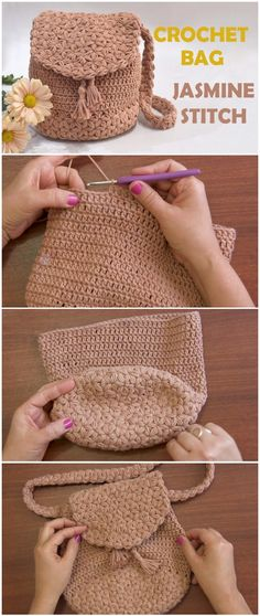 Crochet Bag Jasmine Stitch Free Pattern [Video] Knitting For BeginnersKnitting FashionCrochet ProjectsCrochet Ideas Bag Crochet, Crochet Shell Stitch, Crochet Handbags, Crochet Purses, Crochet Stitches, Crochet Baby, Crochet Bag Free Pattern, Crochet Backpack Pattern, Knit Bag
