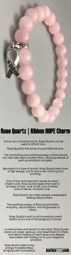 #Breast #Cancer #Awareness #Ribbons #BEADED #Yoga #BRACELETS- ♛ Lowering stress and tension in the #heart, #Rose #Quartz clears out anger, jealousy, and resentment of others, and allows healing of heart issues and disease associated with holding on to suc http://kundaliniyogameditation.com/