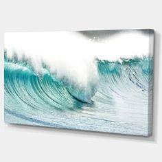 Massive Blue Waves Breaking Beach - Contemporary Seascape Art Canvas - On Sale - Overstock - 12211440 Beach Room Decor, Seaside Decor, Coastal Decor, Canvas Art Prints, Canvas Wall Art, Beach House Colors, Seascape Art, Thing 1, Design Art