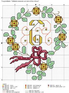 alfabeto maiuscolo con ramo di fiori e fiocco T