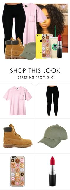 """Camp meet in 2 days..."" by heyitsamber115 ❤ liked on Polyvore featuring Hanes, Timberland, New Look, Casetify and MAC Cosmetics"