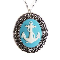 Retro nautical baby blue and white anchor cameo set in an antiqued silver setting and hanging on an antiqued silver chain.The cameo is long and the chain is long. Anchor Necklace, Cameo Necklace, Cameo Jewelry, Jewelry Accessories, Fashion Accessories, Nautical Jewelry, Looks Vintage, Diamond Are A Girls Best Friend, Girly Things
