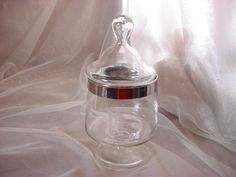 Vintage Glass Jar Apothecary Candy Display Wedding Terrarium Buffet Monogram N #Unbranded