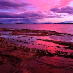 The sun setting last night from Howrah Bluff, near Hobart. Fantastic colours in the sky here sitting nicely with the sandstone shelf and rock pools looking towards the mouth of the Derwent River.  #discovertasmania #hobart #howrah #beach #sunset #pink Image Credit: Damian Brockie
