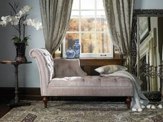 Valencia Scroll Chaise | Bombay Canada Sunroom Ideas, Living Spaces, Living Room, Sofa Chair, Glamping, Valencia, End Tables, Home Interior Design, Cribs