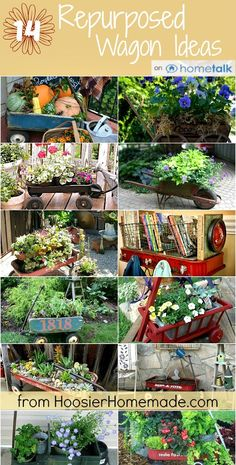 14 Repurposed Wagon Ideas :: Use a wagon in an unusual way with one of these ideas. HoosierHomemade.com via @Hometalk