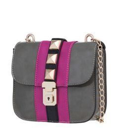 """This gorgeous, Melie Bianco handbag has a patent faux leather body with satin trim, while also featuring a chic studded detailing. The fabulous handbag has a 23.5"""" chain strap, which makes it perfect for wearing over the shoulder or as a cross-body bag. The beautiful color blocking is going to be a must-have for this fall, fashion season! Size: 7""""L x 6.5""""H x 2""""W $65.99"""