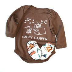 Happy Camper Eco Friendly Clothing - Brown 0 3 6 12 18 months LONG sleeves and Organic Camping Shoes- Baby Clothes Organic Gift for baby