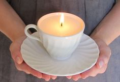 If you're looking for an easy gift idea, or just have a lot of extra teacups at home, turn them into candles! This DIY project is easy and looks like it jumped out of the pages of an Anthropologie catalog! Here's how to turn an old teacup into an awesome candle.