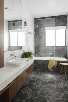 Know the 9 Best Bathroom Flooring Options for Your Home geometric tiles in bathroom [simple decoration ideas, interior design, home design, decoration, dec Bathroom Flooring Options, Best Bathroom Flooring, Bathroom Floor Tiles, Bathroom Renos, Bathroom Renovations, Tile Floor, Bathroom Grey, Vanity Bathroom, Room Tiles