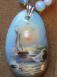 Купить Тихая гавань надежды. колье и серьги. - голубой, лаковая миниатюра, живопись маслом