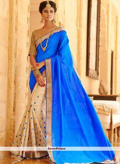 Beige And Blue Shaded Bhagalpuri Silk Saree