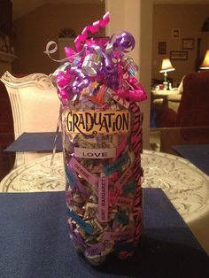 by nancylrv, via Flickr. Very great Gift-fill the plastic bottle with money, glue the lid on & decorate!  Did this one for cousins College Grad gift!