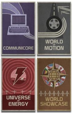 """Contemporary retro EPCOT posters: """"Created by Chicago-based artist and graphic designer Stephen Christ, they combine early 1980s EPCOT font, icons and graphics styles with designs reminiscent of earlier World's Fair promotional pieces. """""""