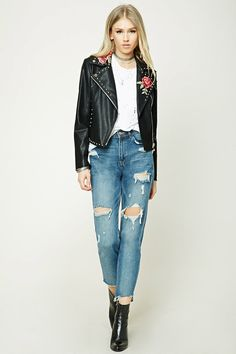 Floral Faux Leather Moto Jacket | Forever 21 - 2000208668