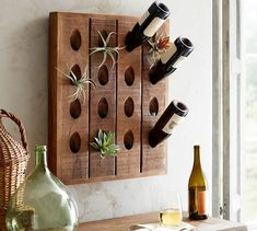 """French Wine Bottle Riddling Rack - """" Best Picture For trends jewelry For Your Taste You are looking for something, and it is going - Wine Bottle Wall, Empty Wine Bottles, Wine Rack Wall, Wine Bottle Holders, Wall Racks, Wine Bottle Crafts, Diy Wine Racks, Wine Wall Decor, Bottle Rack"""