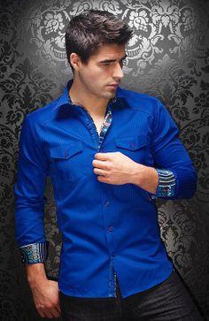 Au Noir men's dress shirt at www.FashionMenswear.com