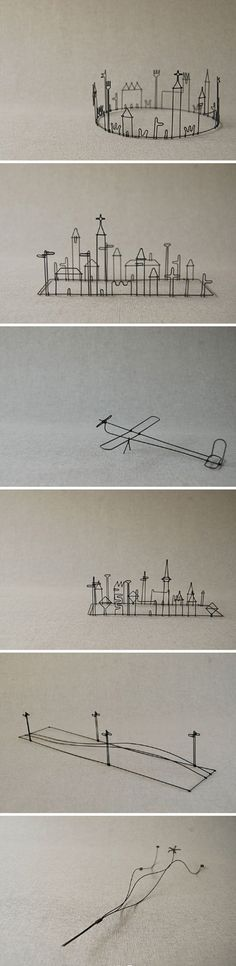 These wire art pieces are so simple and so expressive.