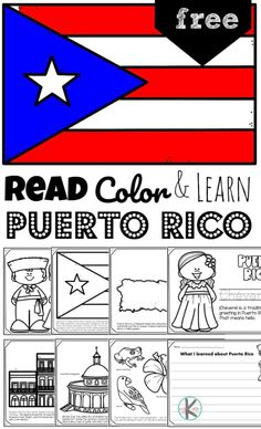 Puerto Rico you lovely island.....children will be fascinated to learn about the rich history, beautiful wildlife, and the cool fort as they explore this Caribbean Island with these free printablePuerto Rico Coloring Pages for toddler, preschool, pre-k, kindergarten, first grade, 2nd grade, and 3rd grade students. Study Of Geography, Geography For Kids, Kindergarten Lessons, Homeschool Kindergarten, Teaching Math, Homeschooling, Free Coloring Pages, Coloring For Kids, Japan For Kids