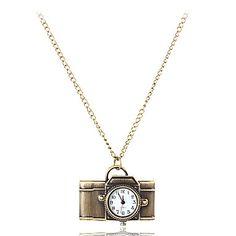 Damekamera Stil Vintage Alloy Quartz Necklace Watch – NOK kr. 41