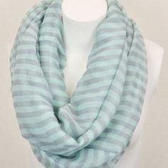 Mint stripe summer infinity scarf.