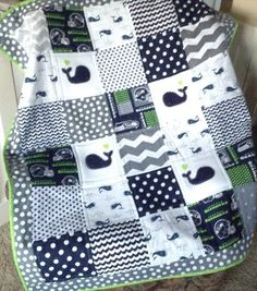 SEAHAWK Baby Whale quilt in gray navy and white by Lovesewnseams on Etsy.com $165
