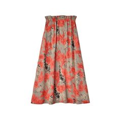 For Love & Lemons Mai Tai Orchid Maxi Skirt ($149) ❤ liked on Polyvore featuring skirts, floral skirt, maxi skirt, long red skirt, red bandeau top and floral bandeau bikini top