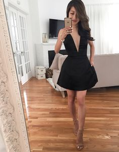 little black dress // cocktail party outfit ideas petite style