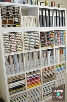 Jeanne combined her IKEA Kallax shelf with Stamp-n-Storage craft organization products in her craft room. Now her paper, punches, markers, and ink pads fit perfectly inside of the shelf cubes and her supplies have their own space! Check out these Stamp-n-Storage products.