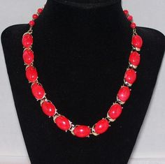Vintage Coro Necklace Red Lucite Plastic 1950s by 4dollsintime