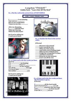 "Song from ""Twilight"" - Linkin Park ""Leave Out All The Rest"" worksheet - Free ESL printable worksheets made by teachers English Activities, Music Activities, Teaching Activities, Teaching Aids, Teaching Tools, Vocabulary Worksheets, English Vocabulary, Printable Worksheets, Listening English"