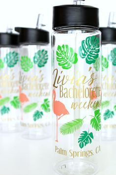 Water Bottles by Lucy Fifty Three   via Palm Tree Bachelorette Party Ideas…