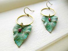 Winter leaf earrings garnet patina green by Gypsymoondesigns, $25.00