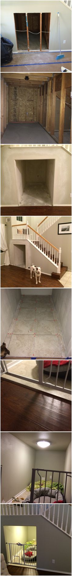 Dog room under stairs. There is so much wasted space under stairs and just a perfect spot for a dog room.. They love their spot!