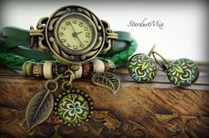 Gift set women watchladies watchearrings vintage by StardustMix
