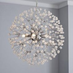 Crafted in a dandelion-inspired spherical design, this contemporary ceiling light fitting features clear acrylic beads and a chrome finish. Gold Ceiling, Ceiling Pendant, Ceiling Lights, Flush Lighting, Home Lighting, Pendant Lighting, Ceiling Light Fittings, G9 Led Bulb, Light Bulb Types