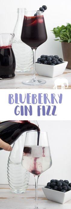 Blueberry Gin Fizz with homemade blueberry syrup | ElephantasticVegan.com #cocktail #blueberry #gin #drink via @elephantasticv