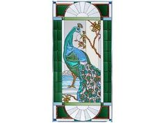 42x20 PEACOCK Tropical Stained Art Glass Window Panel Suncatcher
