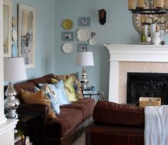 The Evolution of a Living Room (Modern Cottage / Benjamin Moore Woodlawn Blue)