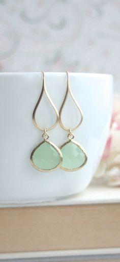 Mint Gold Glass Drop Dangle Earrings. Mint and Gold Wedding. Mint Green Opal Pear Glass Dangle Earring