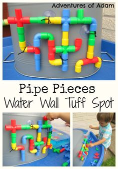 Create a Water Wall Tuff Spot using Pipe Pieces. Easy to set up and great for preschoolers to form their own DIY water wall. Outdoor Water Games, Kids Outdoor Play, Outdoor Play Areas, Water Games For Kids, Outdoor Playground, Backyard For Kids, Backyard Games, Indoor Play, Tuff Spot