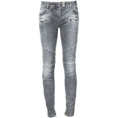 Balmain biker jeans ($1,045) ❤ liked on Polyvore featuring jeans, balmain, pants, bottoms, grey, gray skinny jeans, skinny leg jeans, ankle zipper jeans, skinny fit jeans and 5 pocket jeans