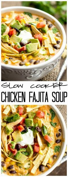 Magnificent This Slow Cooker Chicken Fajita Soup takes 5 minutes to throw into the crockpot and will be the best and creamiest chicken fajita soup you will ever have! The post Slow Cooker Chicken Fajita Soup appeared first on MIkas Recipes . Slow Cooker Chicken, Slow Cooker Huhn, Crock Pot Slow Cooker, Crock Pot Cooking, Cooking Recipes, Healthy Recipes, Easy Recipes, Potato Recipes, Slow Cooker Tortilla Soup