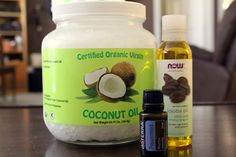 Deep Conditioner for hair with olive oil, coconut oil and peppermint oil! Yay! I have it all!